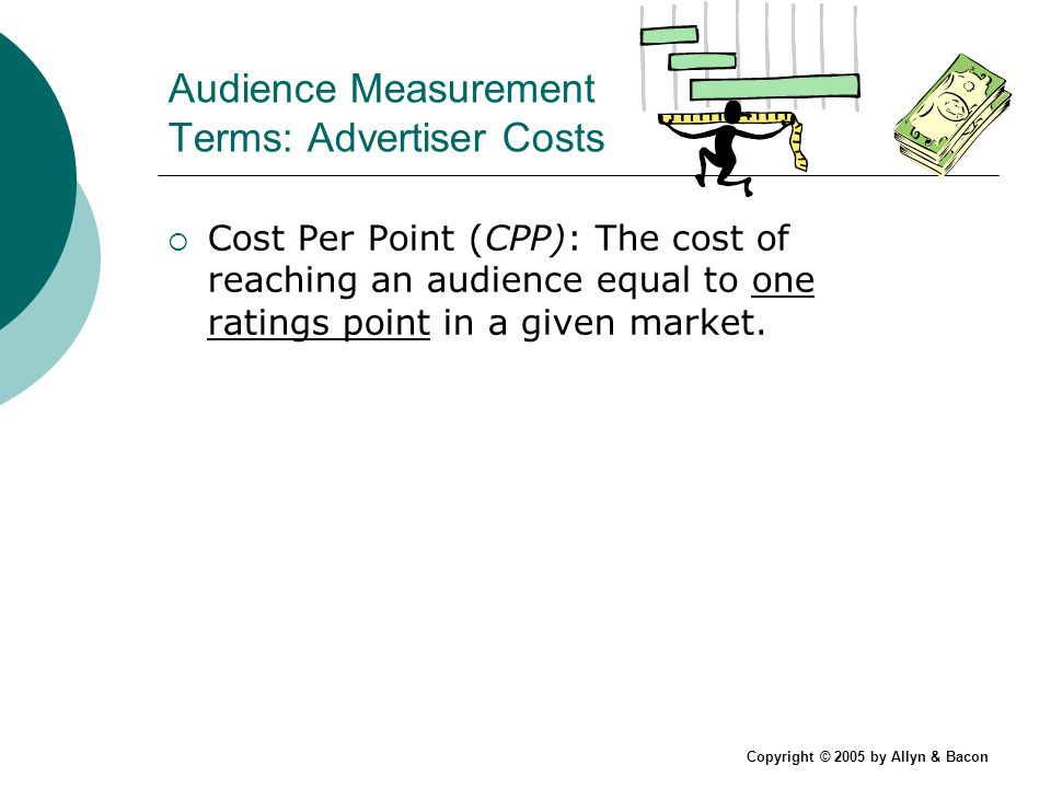 Copyright © 2005 by Allyn & Bacon Audience Measurement Terms: Advertiser Costs Cost Per Point (CPP): The cost of reaching an audience equal to one ratings point in a given market.
