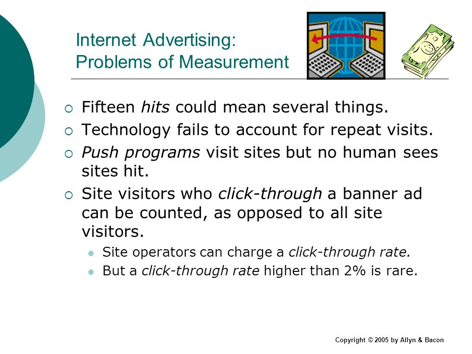 Copyright © 2005 by Allyn & Bacon Internet Advertising: Problems of Measurement Fifteen hits could mean several things.
