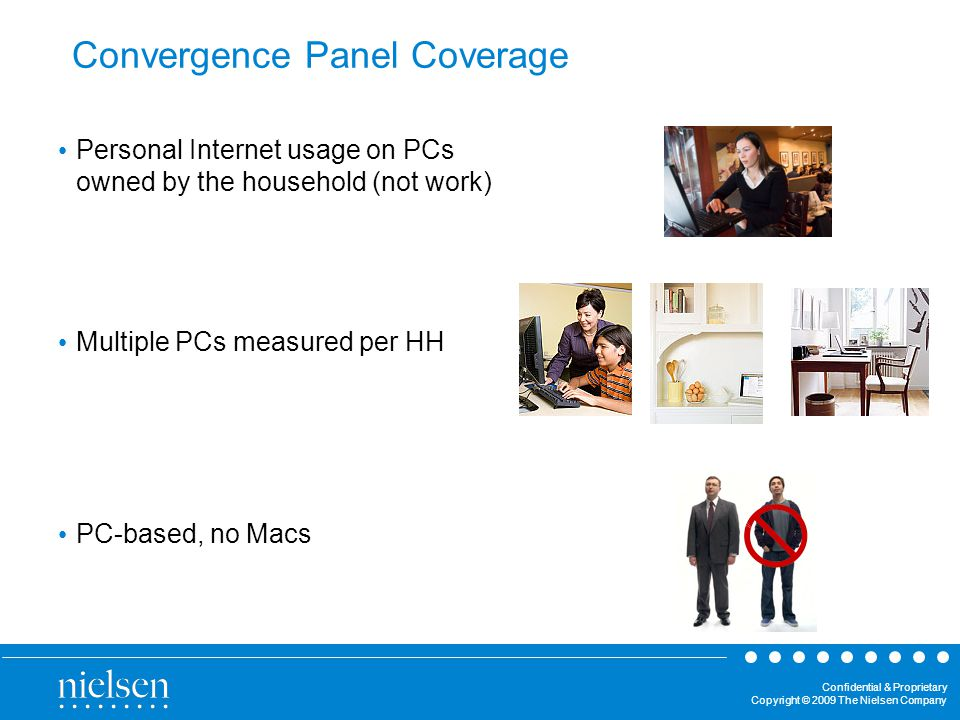 Confidential & Proprietary Copyright © 2009 The Nielsen Company Convergence Panel Coverage Personal Internet usage on PCs owned by the household (not work) Multiple PCs measured per HH PC-based, no Macs