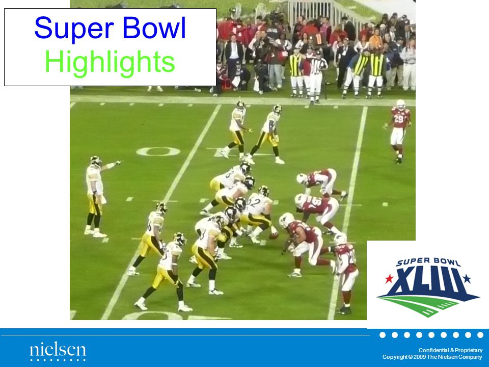 Confidential & Proprietary Copyright © 2009 The Nielsen Company Super Bowl Highlights