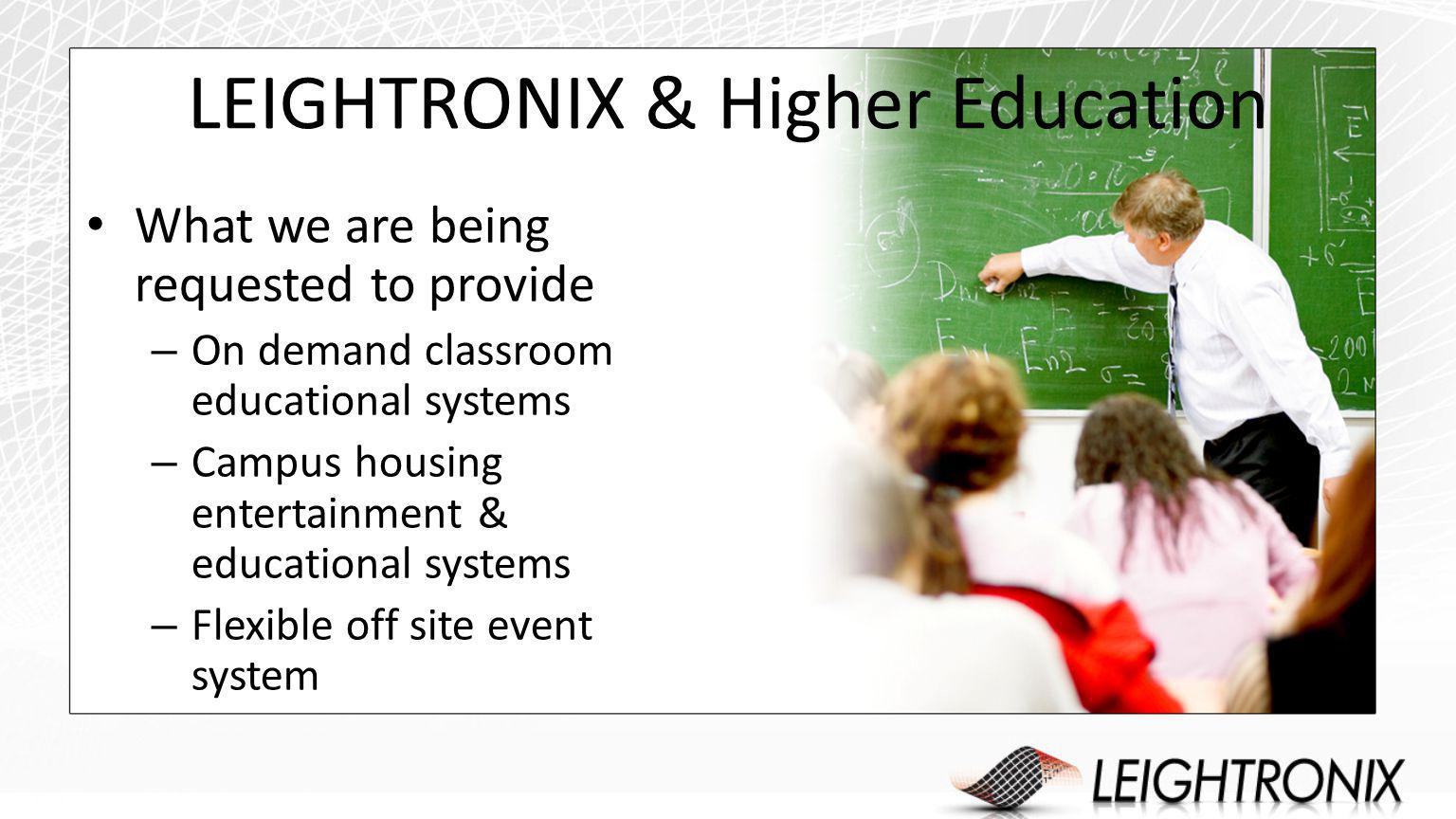 LEIGHTRONIX & Higher Education What we are being requested to provide – On demand classroom educational systems – Campus housing entertainment & educational systems – Flexible off site event system
