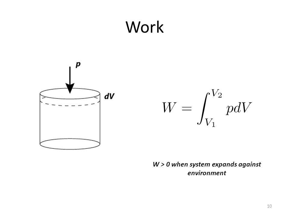 Work 10 W > 0 when system expands against environment