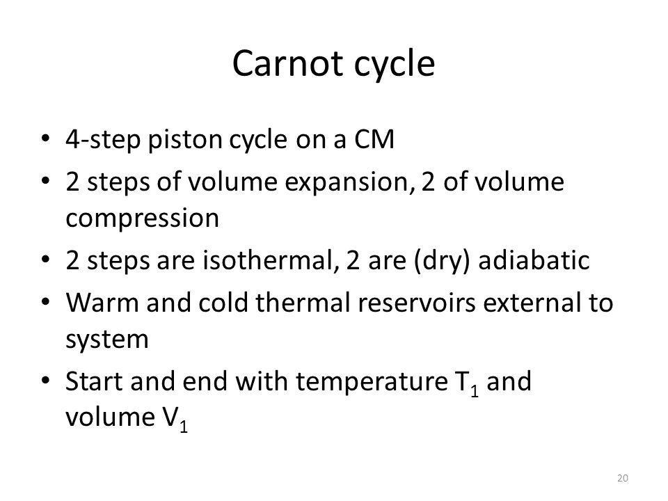 Carnot cycle 4-step piston cycle on a CM 2 steps of volume expansion, 2 of volume compression 2 steps are isothermal, 2 are (dry) adiabatic Warm and cold thermal reservoirs external to system Start and end with temperature T 1 and volume V 1 20