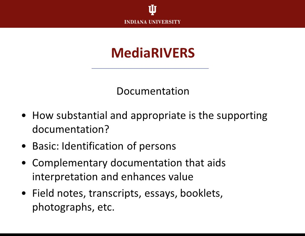MediaRIVERS Rareness To what extent is the documentation of topics/subjects rare or unique.