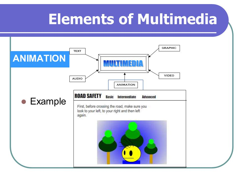 Elements of Multimedia ANIMATION TEXT AUDIO GRAPHIC VIDEO ANIMATION Example
