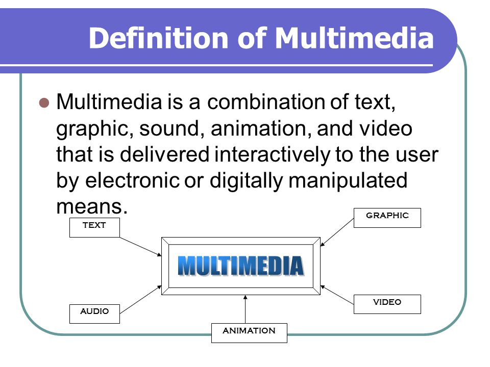 Definition of Multimedia Multimedia is a combination of text, graphic, sound, animation, and video that is delivered interactively to the user by electronic or digitally manipulated means.