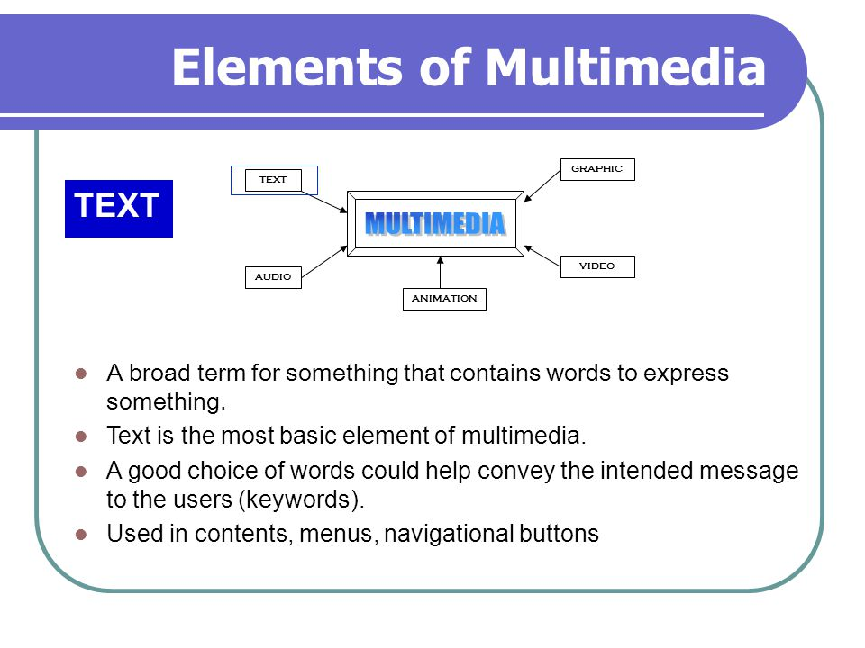 Elements of Multimedia TEXT AUDIO GRAPHIC VIDEO ANIMATION A broad term for something that contains words to express something.