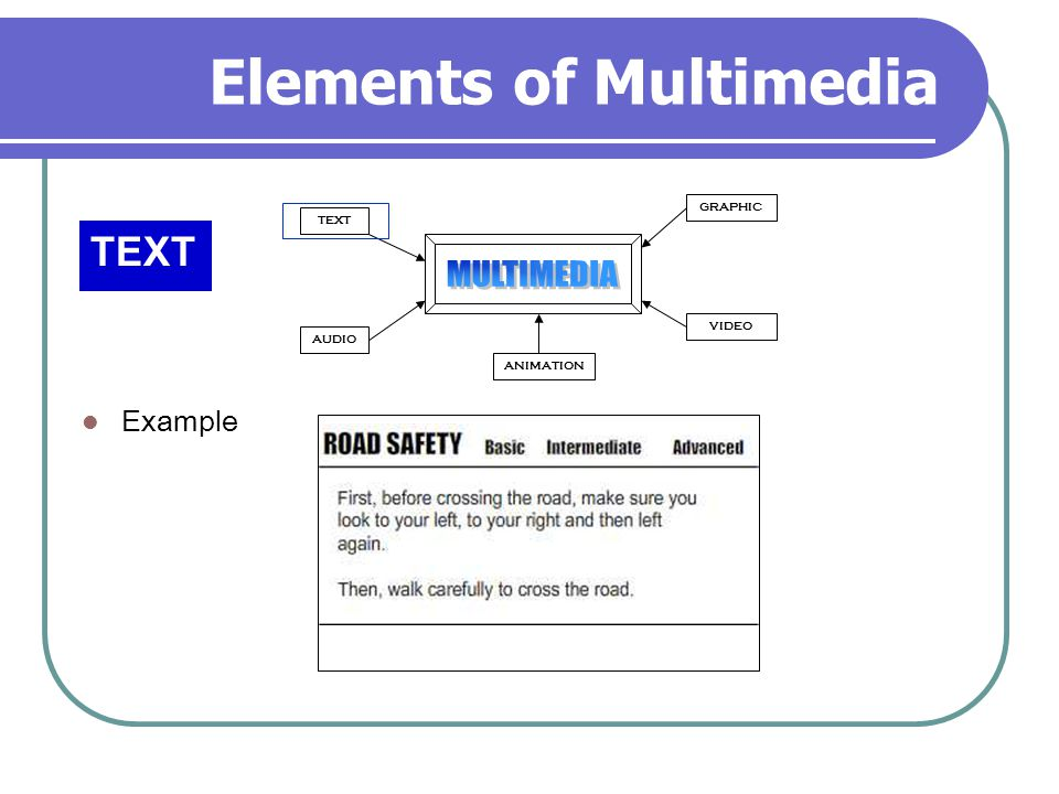 Elements of Multimedia TEXT AUDIO GRAPHIC VIDEO ANIMATION Example