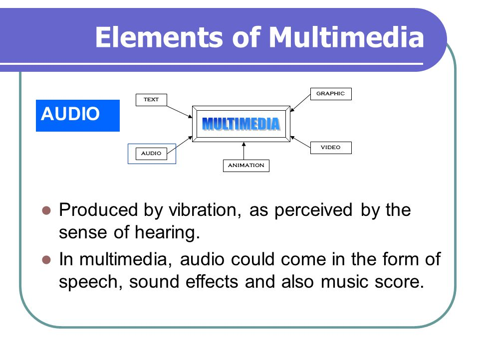 Elements of Multimedia AUDIO TEXT AUDIO GRAPHIC VIDEO ANIMATION Produced by vibration, as perceived by the sense of hearing.