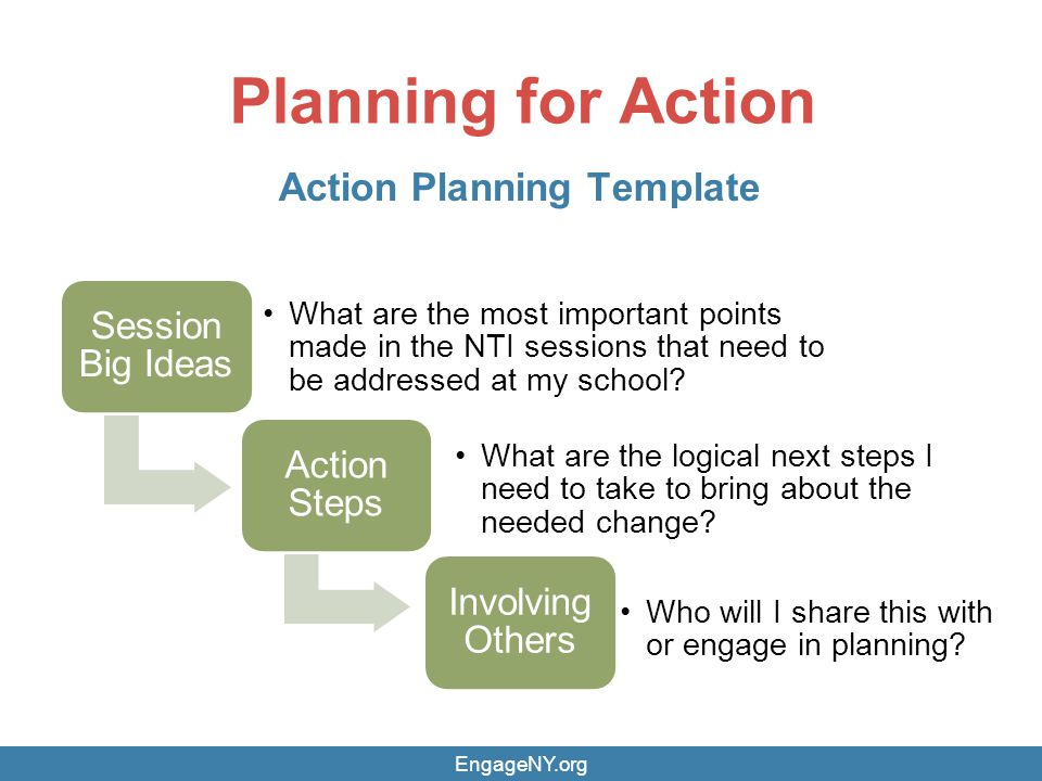 Planning for Action Action Planning Template EngageNY.org Session Big Ideas What are the most important points made in the NTI sessions that need to be addressed at my school.