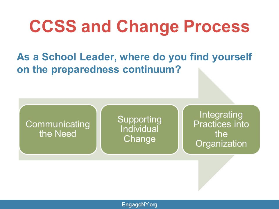 CCSS and Change Process As a School Leader, where do you find yourself on the preparedness continuum.