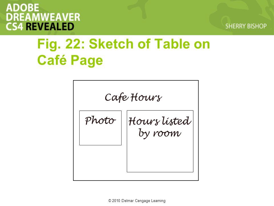© 2010 Delmar Cengage Learning Fig. 22: Sketch of Table on Café Page
