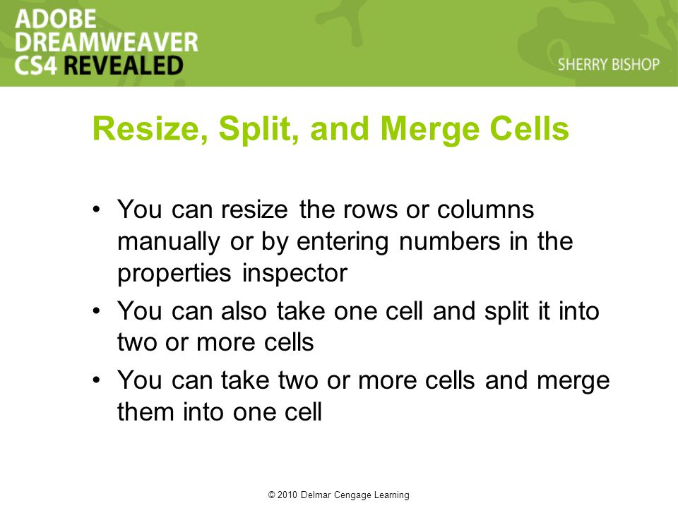 © 2010 Delmar Cengage Learning Resize, Split, and Merge Cells You can resize the rows or columns manually or by entering numbers in the properties inspector You can also take one cell and split it into two or more cells You can take two or more cells and merge them into one cell