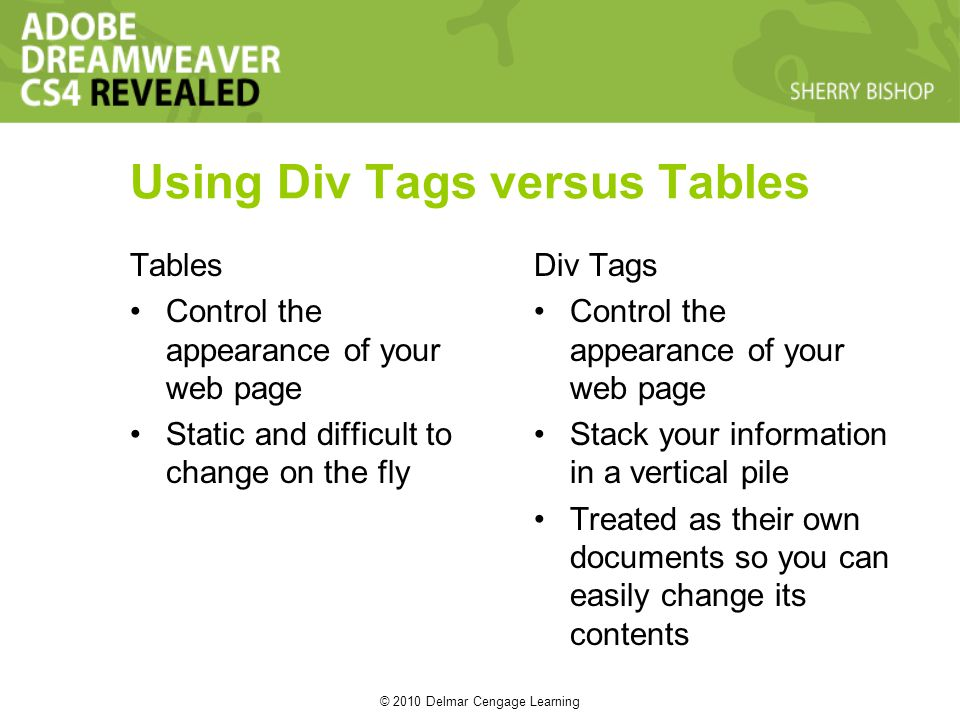 © 2010 Delmar Cengage Learning Using Div Tags versus Tables Tables Control the appearance of your web page Static and difficult to change on the fly Div Tags Control the appearance of your web page Stack your information in a vertical pile Treated as their own documents so you can easily change its contents