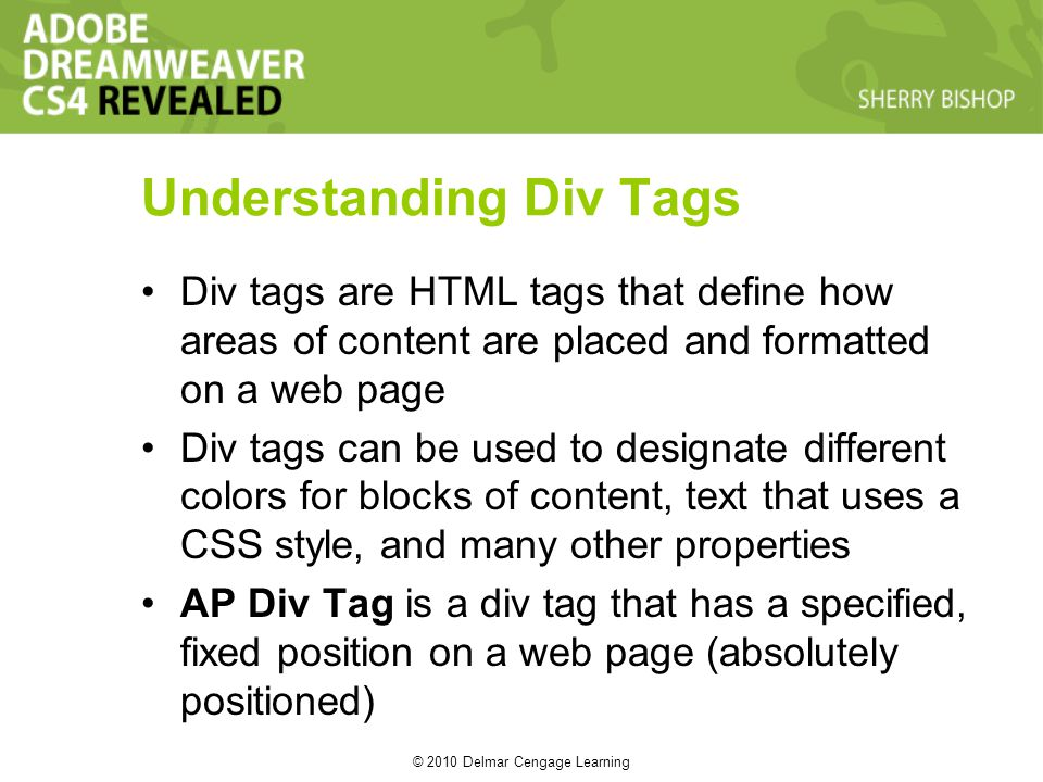 © 2010 Delmar Cengage Learning Understanding Div Tags Div tags are HTML tags that define how areas of content are placed and formatted on a web page Div tags can be used to designate different colors for blocks of content, text that uses a CSS style, and many other properties AP Div Tag is a div tag that has a specified, fixed position on a web page (absolutely positioned)