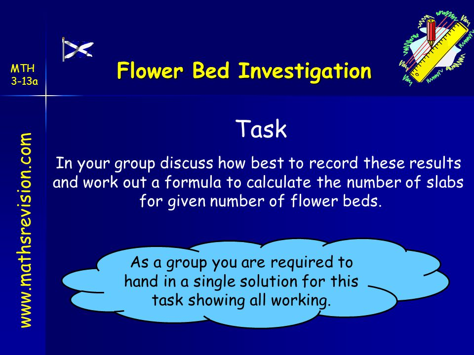 Flower Bed Investigation Task In your group discuss how best to record these results and work out a formula to calculate the number of slabs for given number of flower beds.
