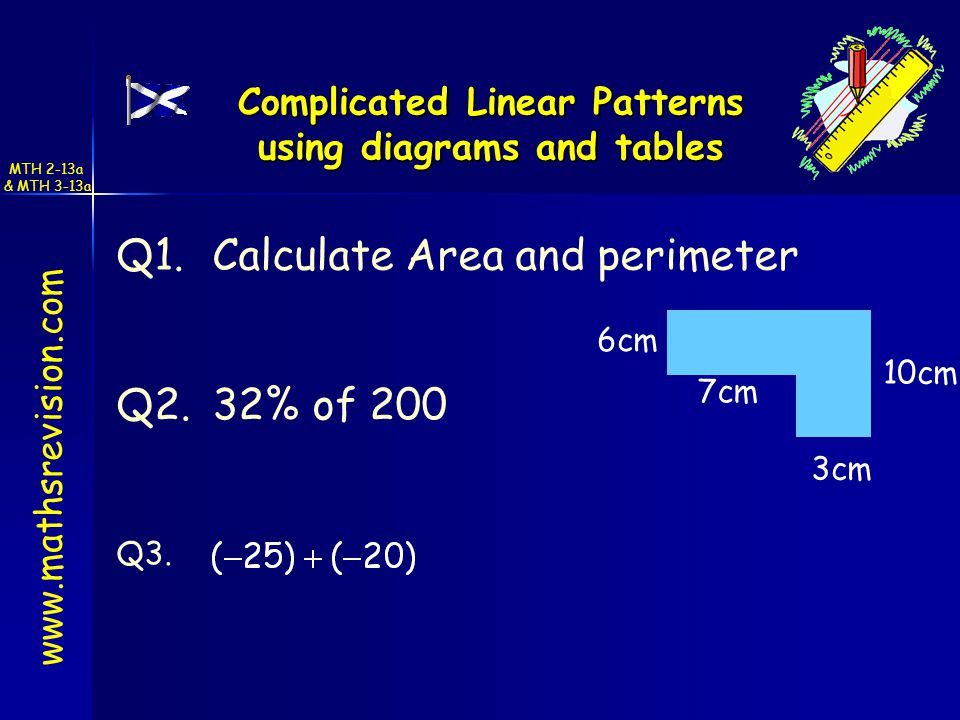 Complicated Linear Patterns using diagrams and tables Q1.Calculate Area and perimeter Q3.