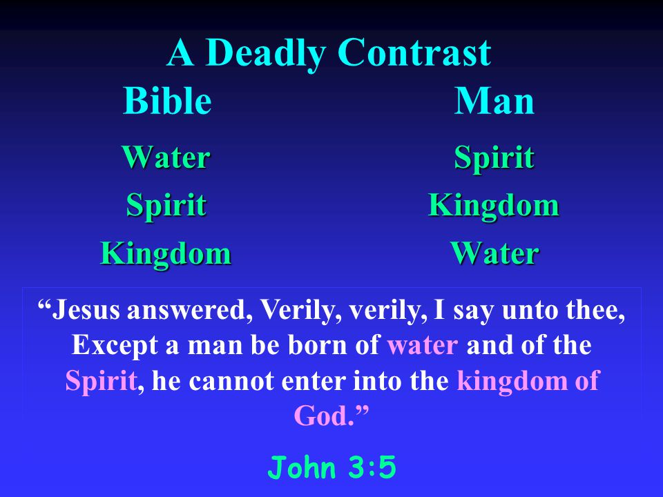 A Deadly Contrast BibleMan WaterSpiritKingdom Spirit Spirit Kingdom Kingdom Water Water Jesus answered, Verily, verily, I say unto thee, Except a man be born of water and of the Spirit, he cannot enter into the kingdom of God.