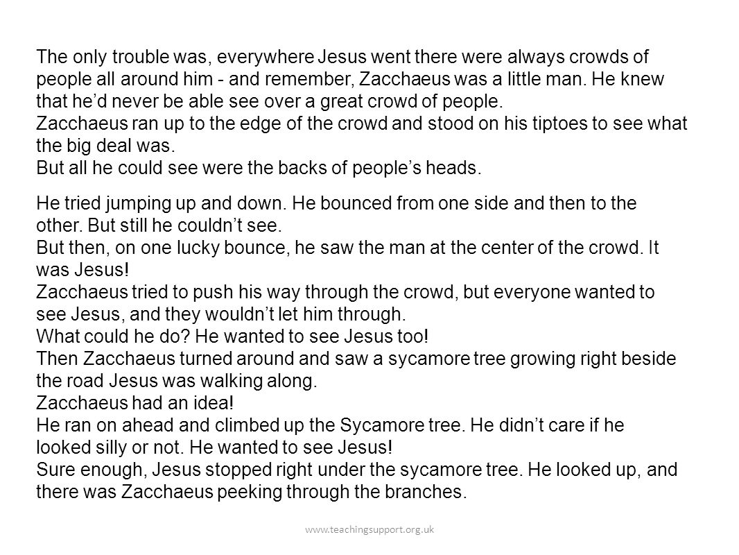 The only trouble was, everywhere Jesus went there were always crowds of people all around him - and remember, Zacchaeus was a little man.