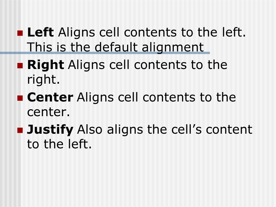 Left Aligns cell contents to the left.
