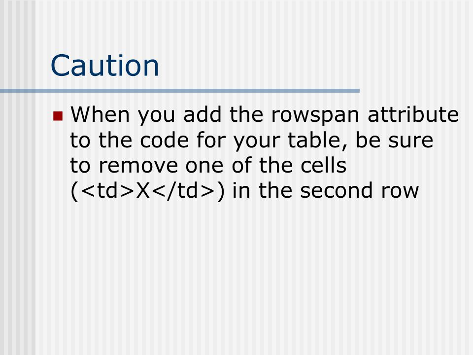 Caution When you add the rowspan attribute to the code for your table, be sure to remove one of the cells ( X ) in the second row