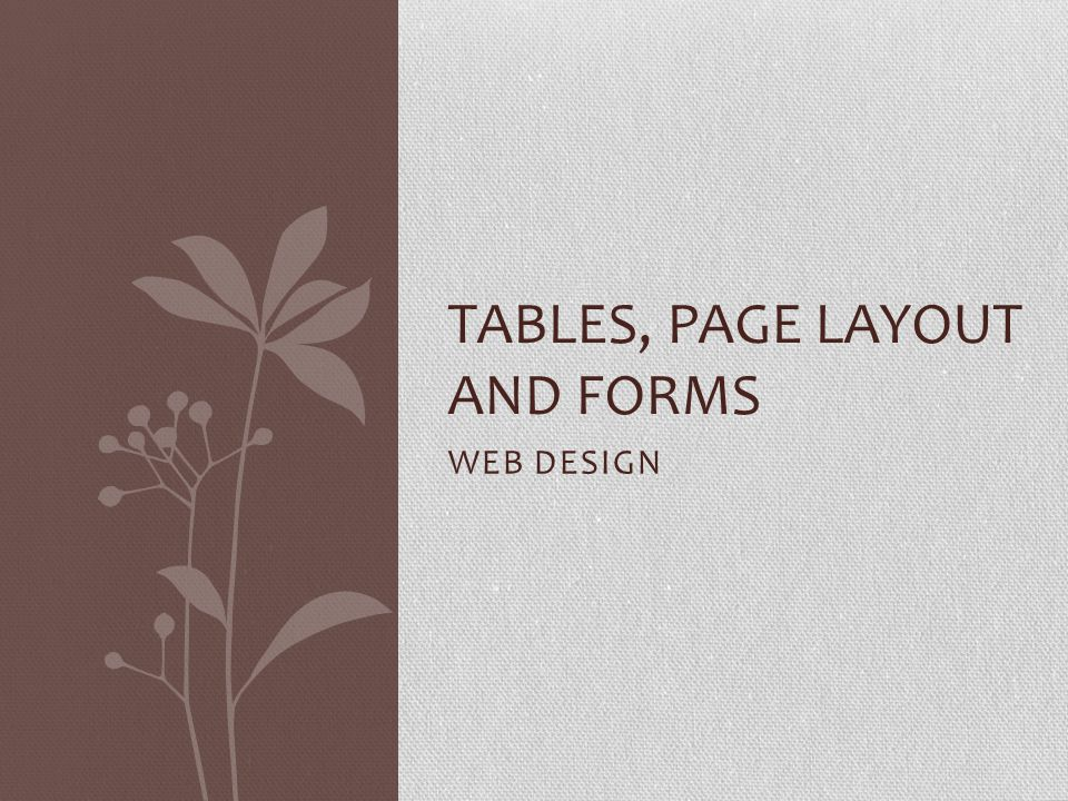 WEB DESIGN TABLES, PAGE LAYOUT AND FORMS
