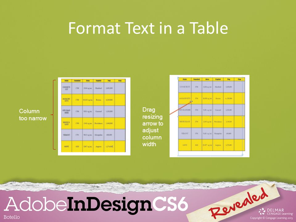 Format Text in a Table Drag resizing arrow to adjust column width Column too narrow