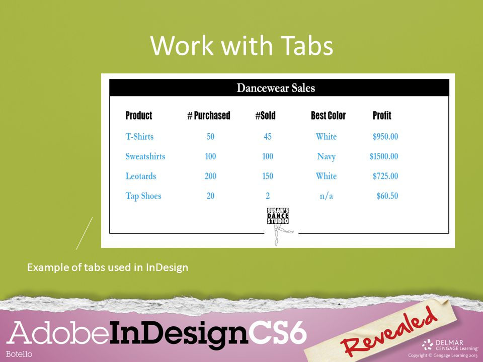 Work with Tabs Example of tabs used in InDesign