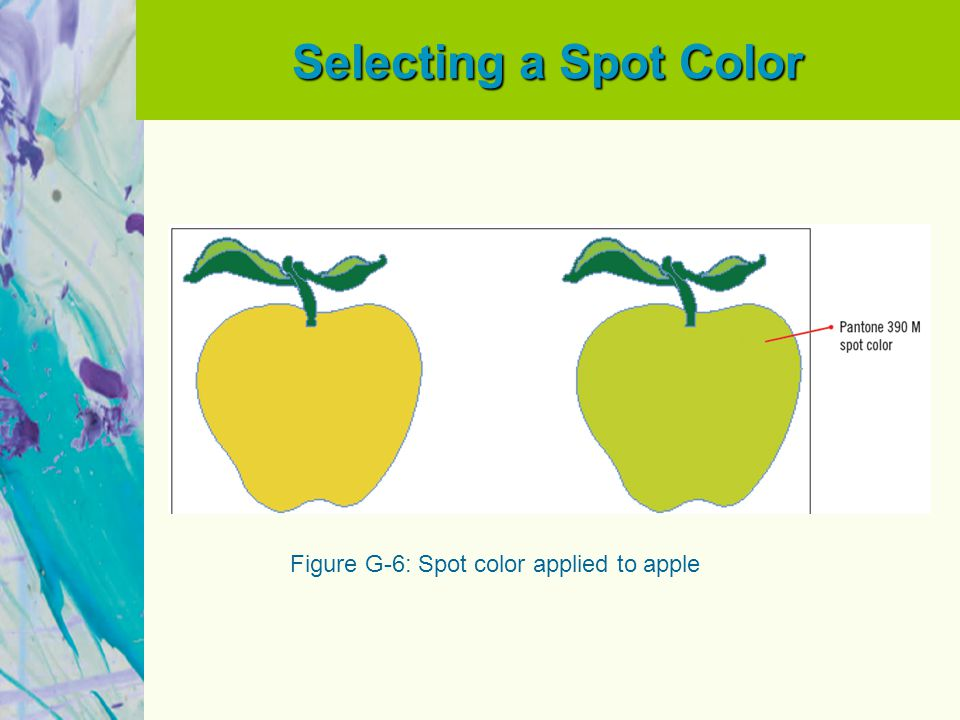 Selecting a Spot Color Figure G-6: Spot color applied to apple