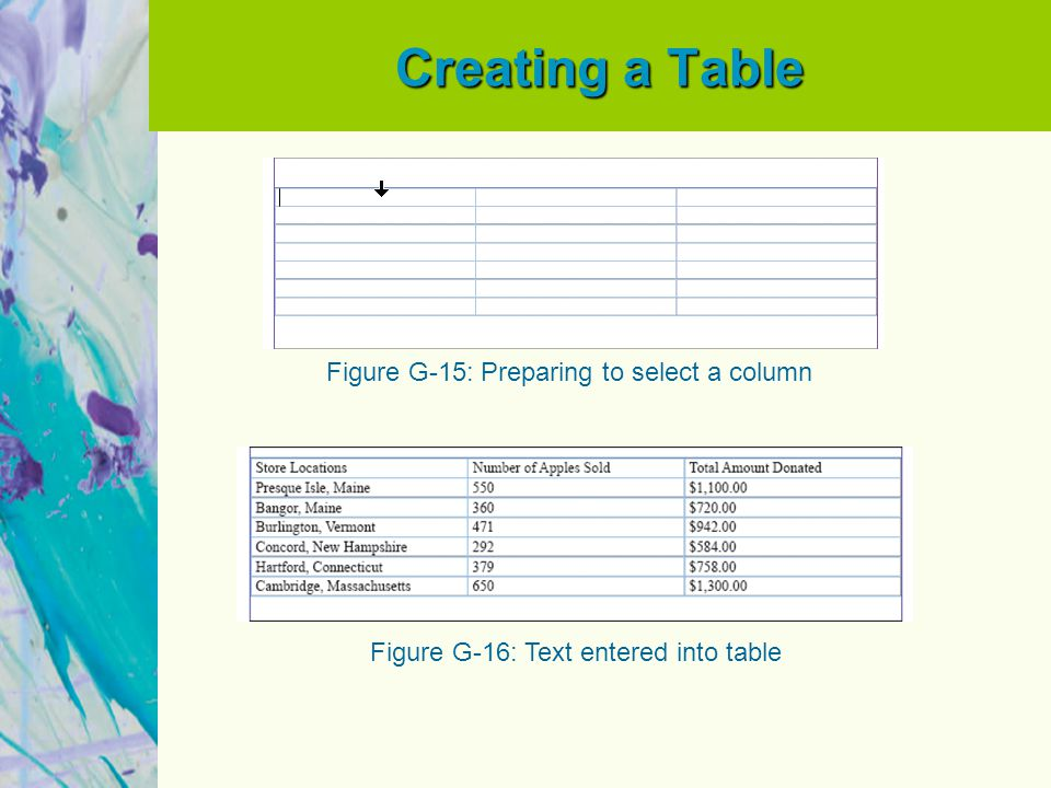 Creating a Table Figure G-15: Preparing to select a column Figure G-16: Text entered into table