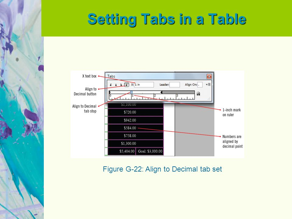 Setting Tabs in a Table Figure G-22: Align to Decimal tab set