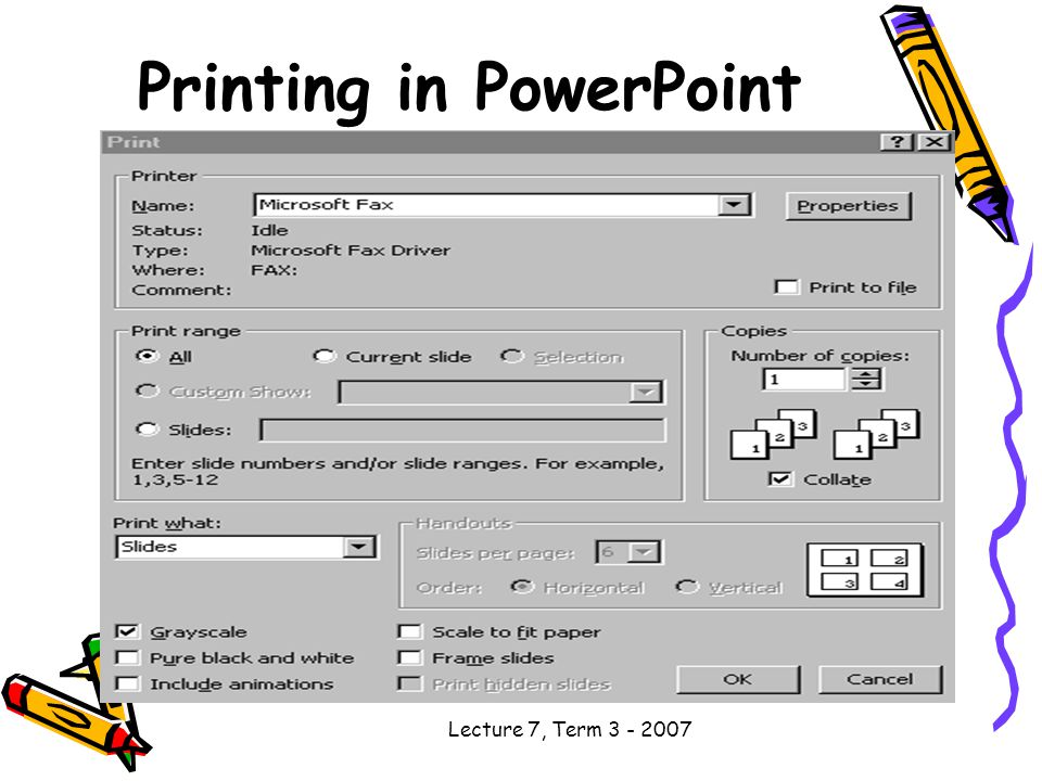 Lecture 7, Term Printing in PowerPoint