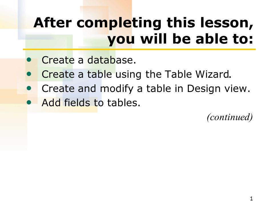 1 After completing this lesson, you will be able to: Create a database.