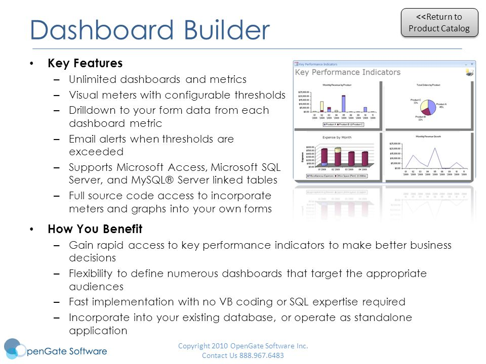 Dashboard Builder Key Features – Unlimited dashboards and metrics – Visual meters with configurable thresholds – Drilldown to your form data from each dashboard metric –  alerts when thresholds are exceeded – Supports Microsoft Access, Microsoft SQL Server, and MySQL® Server linked tables – Full source code access to incorporate meters and graphs into your own forms Copyright 2010 OpenGate Software Inc.