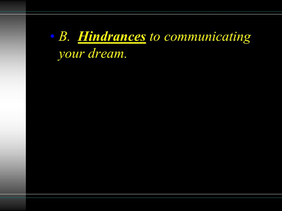 B. Hindrances to communicating your dream.