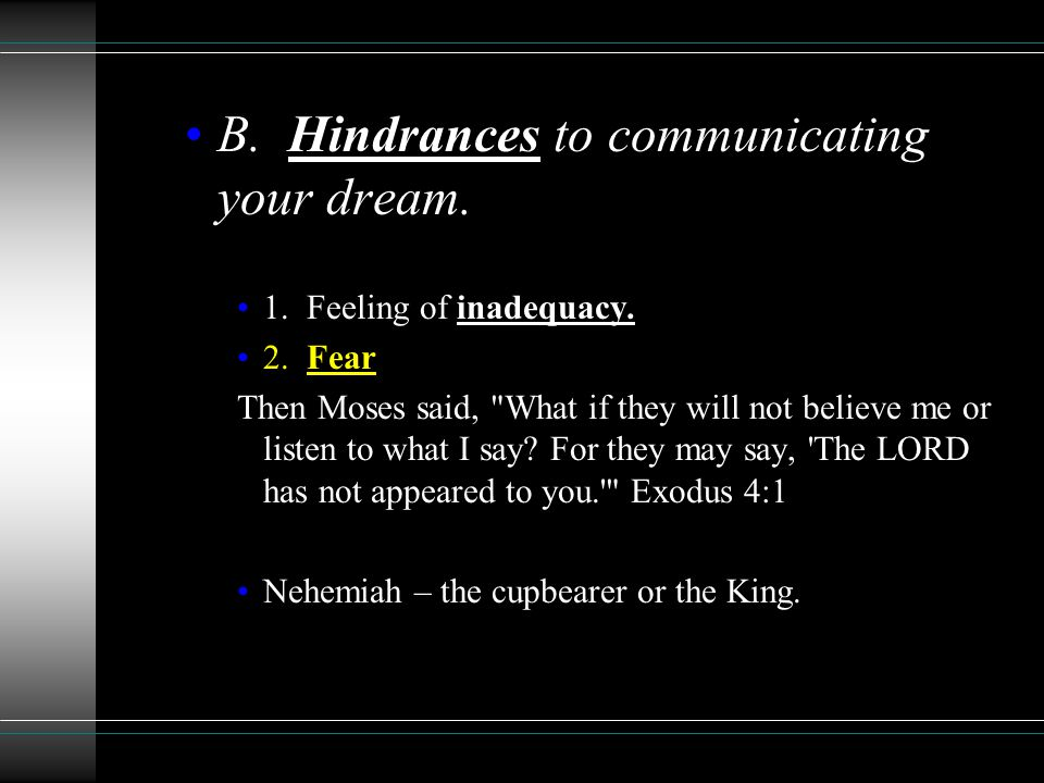 B. Hindrances to communicating your dream. 1. Feeling of inadequacy.