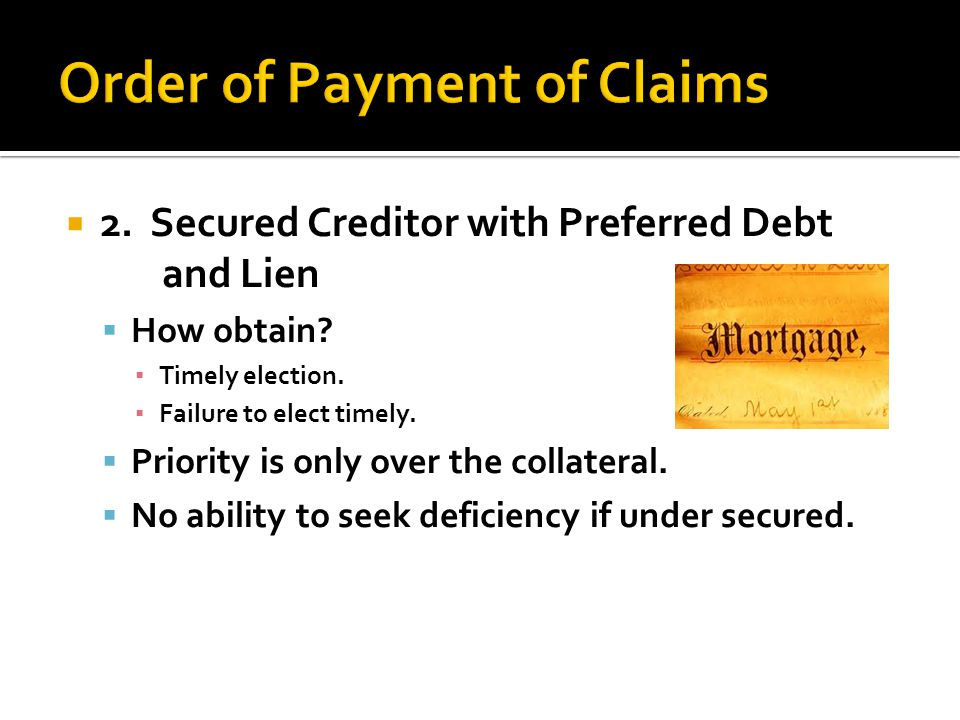 already covered] Creditor must file a claim: With PR or