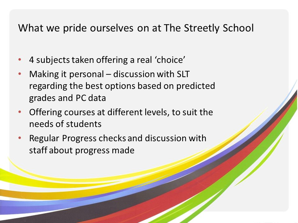 What we pride ourselves on at The Streetly School 4 subjects taken offering a real choice Making it personal – discussion with SLT regarding the best options based on predicted grades and PC data Offering courses at different levels, to suit the needs of students Regular Progress checks and discussion with staff about progress made