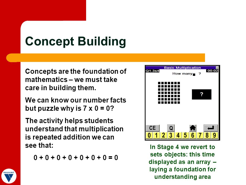 Concept Building Concepts are the foundation of mathematics – we must take care in building them.