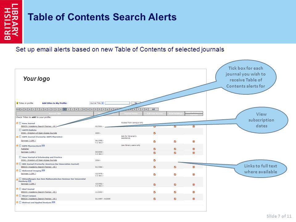 Table of Contents Search Alerts Tick box for each journal you wish to receive Table of Contents alerts for View subscription dates Slide 7 of 11 Your logo Links to full text where available Set up  alerts based on new Table of Contents of selected journals