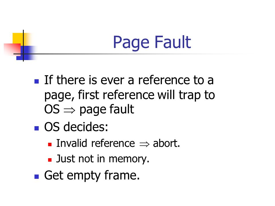 Page Fault If there is ever a reference to a page, first reference will trap to OS page fault OS decides: Invalid reference abort.