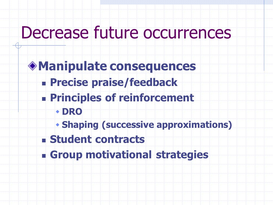 Decrease future occurrences Manipulate consequences Precise praise/feedback Principles of reinforcement DRO Shaping (successive approximations) Student contracts Group motivational strategies