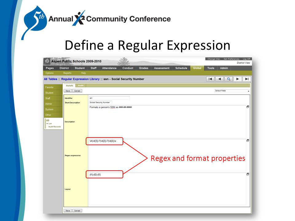 Define a Regular Expression Regex and format properties