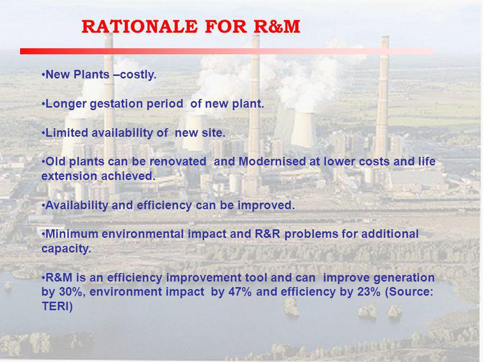 RATIONALE FOR R&M New Plants –costly. Longer gestation period of new plant.