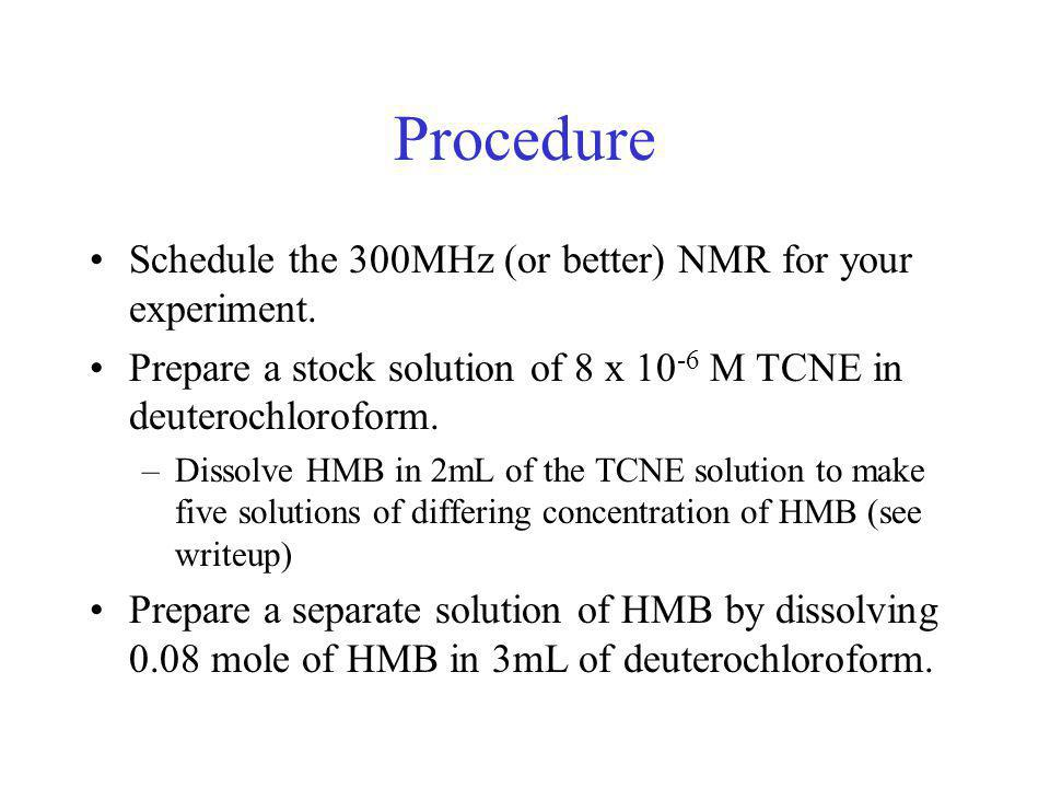 Procedure Schedule the 300MHz (or better) NMR for your experiment.