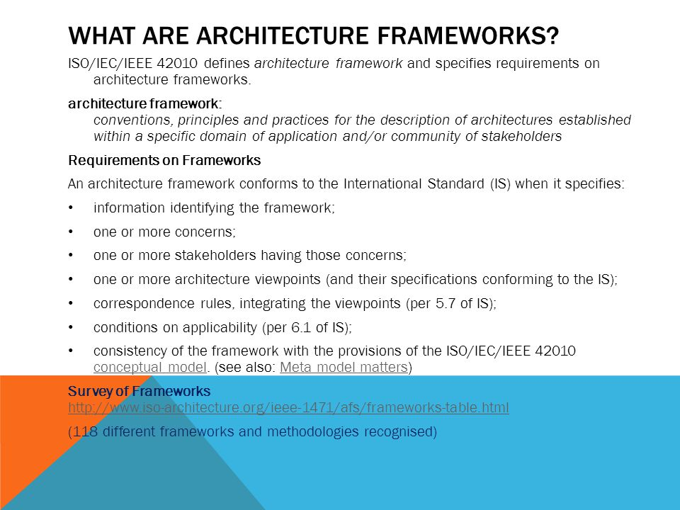 WHAT ARE ARCHITECTURE FRAMEWORKS.