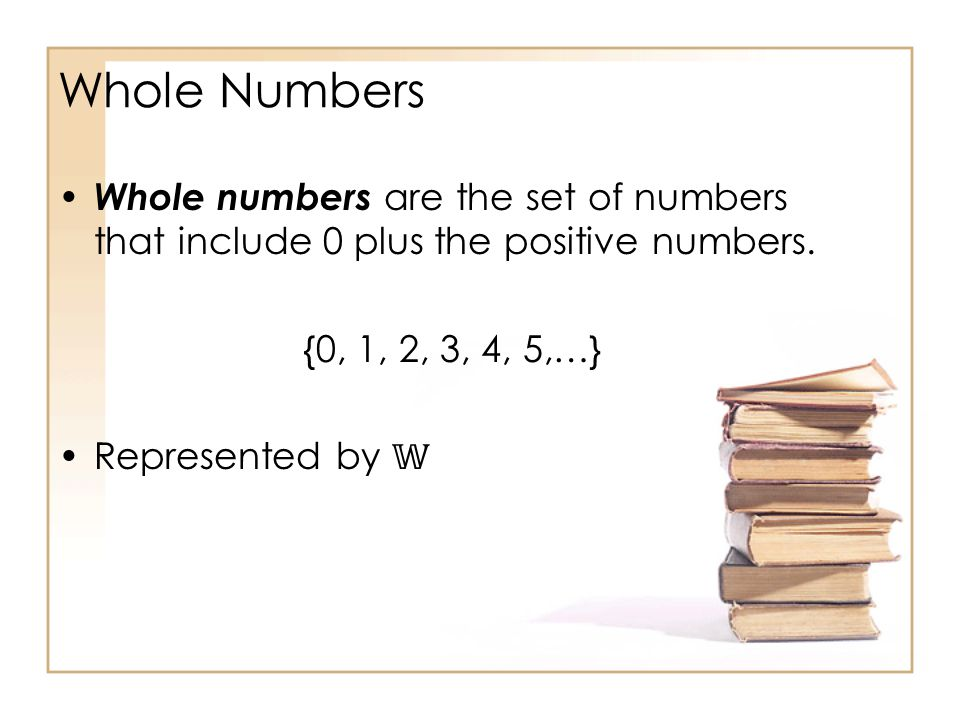 Whole Numbers Whole numbers are the set of numbers that include 0 plus the positive numbers.