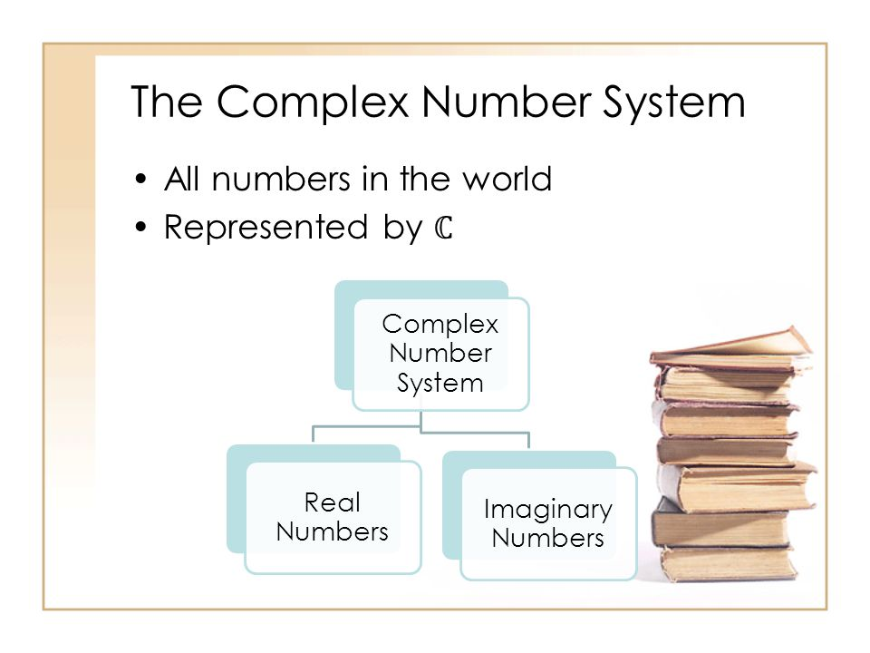 The Complex Number System All numbers in the world Represented by Complex Number System Real Numbers Imaginary Numbers