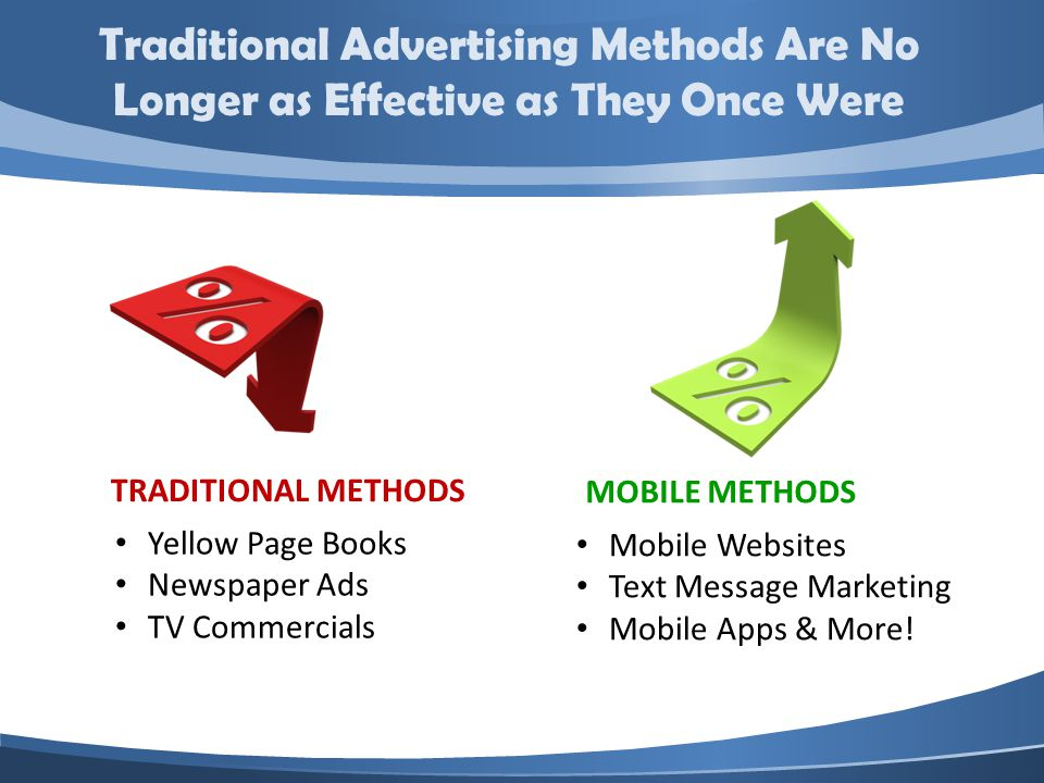 TRADITIONAL METHODS MOBILE METHODS Mobile Websites Text Message Marketing Mobile Apps & More.