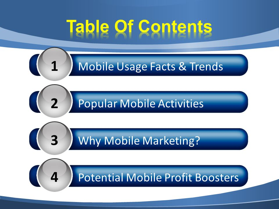 1 Mobile Usage Facts & Trends 2 Popular Mobile Activities 3 Why Mobile Marketing.